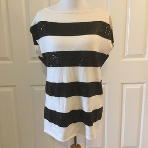Alice + Olivia Black and White Sequin Wool Tunic